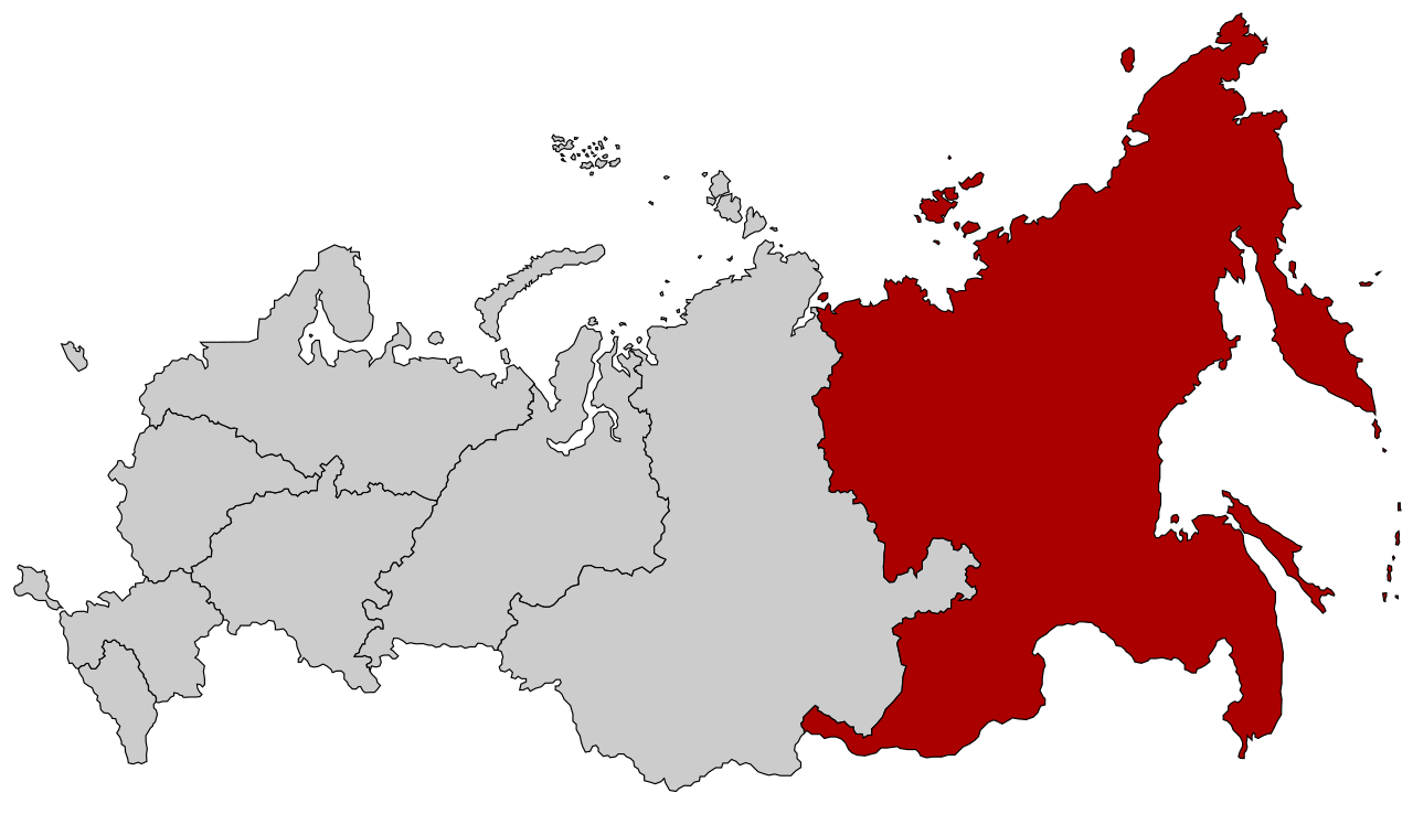 Map of far eastern federal district russia